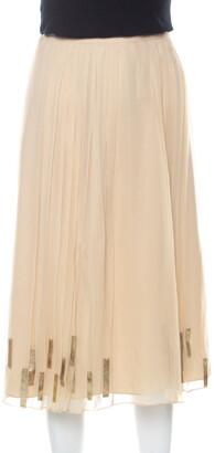 Elie Tahari Light Beige Pleated Silk and Gold Leather Trim Detail Midi Skirt L