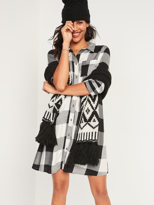Old Navy Buffalo Plaid Flannel Swing Shirt Dress for Women