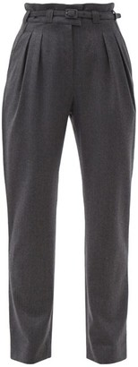 A.P.C. Joan Belted High-rise Wool Trousers - Dark Grey