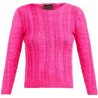La Fetiche - Ivy Cable Knit Wool Sweater - Womens - Pink