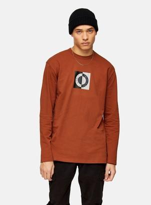 Topman Rust Circle Logo Long Sleeve T-Shirt