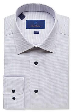 David Donahue Micro Diamond Trim Fit Dress Shirt
