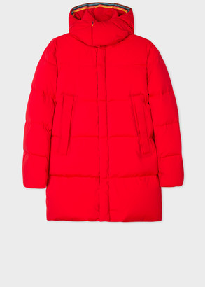 Paul Smith Men's Red Down Parka With Detachable Hood