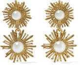 Oscar de la Renta Sun Star Gold-plated Faux Pearl Clip Earrings