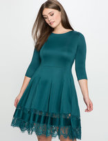 ELOQUII Plus Size Lace Insert Fit and Flare Dress