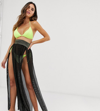 Glamorous Exclusive mesh split beach skirt in black