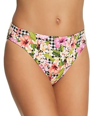 Bleu Rod Beattie Checking In Ruched Back Low-Rise Bikini Bottom