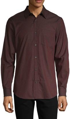 Perry Ellis Gingham-Print Cotton Shirt