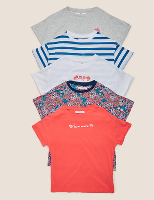 Marks and Spencer 5pk Cotton Floral Mix T-Shirts (6-16 Yrs)