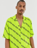 Vintage Supply revere collar shirt in neon yellow