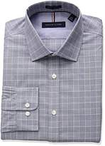 Tommy Hilfiger Men's Non Iron Slim Fit Suiting Plaid Spread Collar Dress Shirt