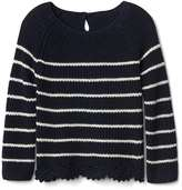 Gap Stripe lace-trim keyhole sweater