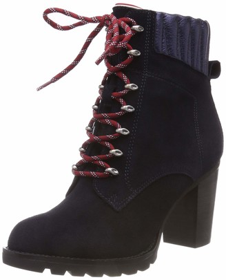 Tommy Hilfiger Women's Basic Hiking Heeled Boot Suede Combat