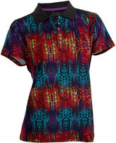 Asstd National Brand Birdie Plus Short Sleeve Short Sleeve Abstract Knit Polo Shirt Plus