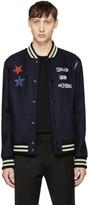Valentino Navy Jamie Reid Edition reclaim Your Heritage Bomber Jacket