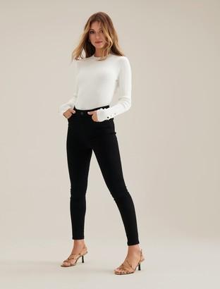 Forever New Zoe Mid-Rise Ankle Grazer Jeans - Forever Black - 4