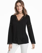White House Black Market Long-Sleeve Embroidered Lace Top