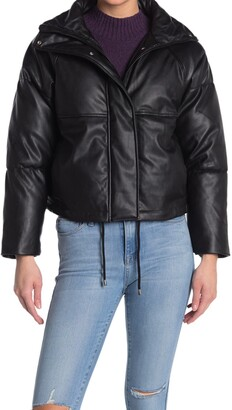 Topshop Faux Leather Puffer Coat