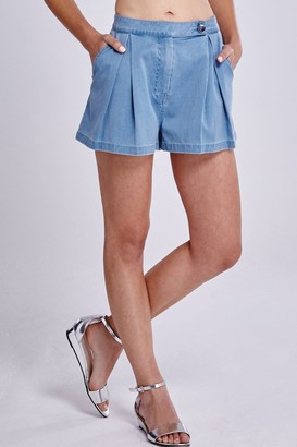 Girls On Film Denim Pleated High Waisted Shorts