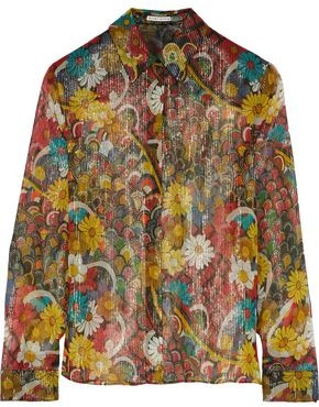 Alice + Olivia Willa Metallic Printed Silk-chiffon Shirt