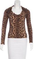 Blumarine Leopard Print Long Sleeve Top