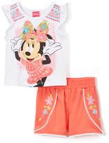 Children's Apparel Network White Minnie Mouse Geometric Tank & Shorts - Girls