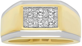 Men's Two Tone Sterling Silver Cubic Zirconia Double Row Ring
