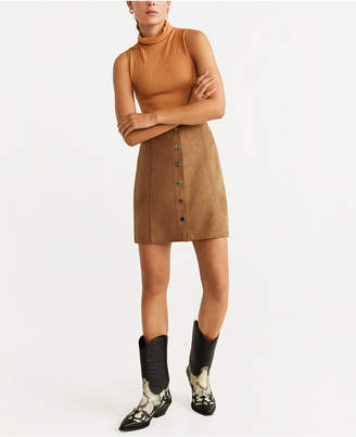 MANGO Faux Suede Button Front Miniskirt