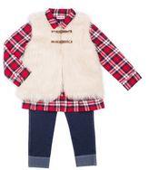 Little Lass Girls 4-6x Vest, Plaid Top & Jeggings Set