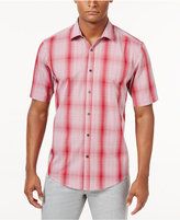 Alfani Men's Big & Tall Short Sleeve Ombré Plaid Shirt, Only at Macy's