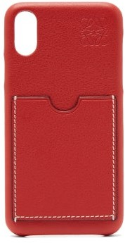 Loewe Anagram-embossed Leather Iphone X Phone Case - Red