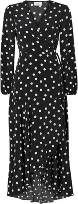 Wallis **TALL Monochrome Polka Dot Wrap Midi Dress