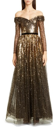 Marchesa Off the Shoulder Long Sleeve Ombre Sequin Gown
