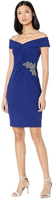 Alex Evenings Short Off-the-Shoulder Crepe Sheath Dress (Electric Blue) Women's Dress