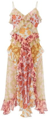 Zimmermann Ruffled Rose-print Silk-chiffon Midi Dress - Pink Multi