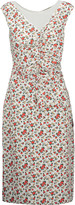 Nina Ricci Ruched floral-print silk crepe de chine midi dress