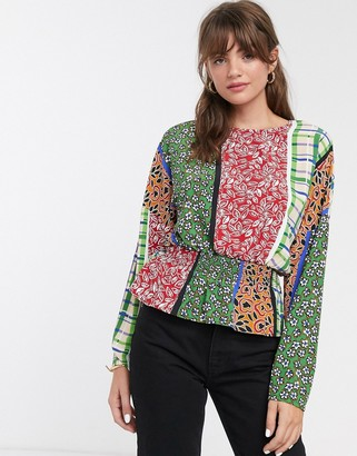 Glamorous blouse with shirred waist in retro patchwork-Multi