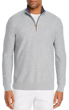 The Men's Store at Bloomingdale's Tipped Half-Zip Textured Sweater - 100% Exclusive