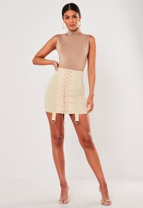 Missguided Stone Lace Up Strap Detail Mini Skirt