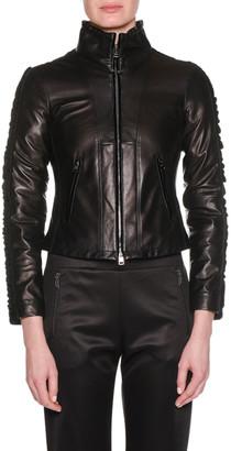 Giorgio Armani Zip-Front Lamb Leather Jacket w/ Velvet Side Stripe