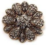 Avalaya Vintage Swarovski Crystal Floral Brooch (Antique )