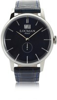 Locman 1960 Silver Stainless Steel Men's Watch w/Dark Blue Croco Embossed Leather Strap