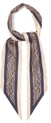 Chloé Geometric-print Silk-twill Scarf - Womens - Navy