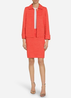 St. John Ribbon Textured Windowpane Knit Cuff Jacket