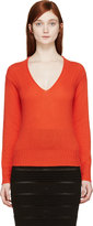 Burberry Orange Cashmere V-Neck Sweater