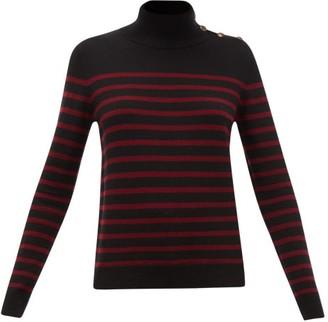 Nili Lotan Beale High-neck Striped Cashmere Sweater - Womens - Black Multi