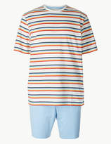 M&S CollectionMarks and Spencer Pure Cotton Striped Pyjama Short Set