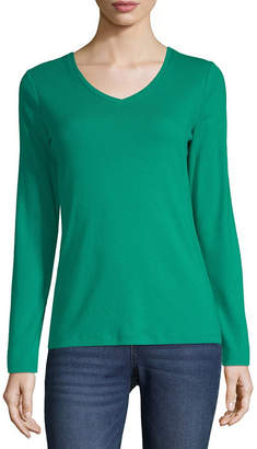 ST. JOHN'S BAY Womens V Neck Long Sleeve T-Shirt