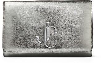 Jimmy Choo VARENNE CLUTCH Gunmetal Distressed Metallic Fabric Clutch Bag with JC logo
