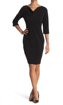 Calvin Klein 3/4 Sleeve Cowl Neck Sheath Dress
